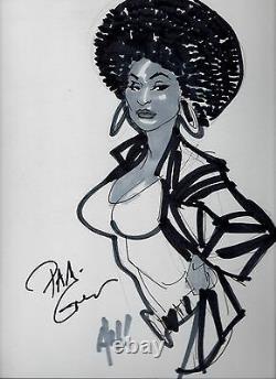 ADAM HUGHES Original Art. Signed by PAM GRIER Foxy Brown Sketch