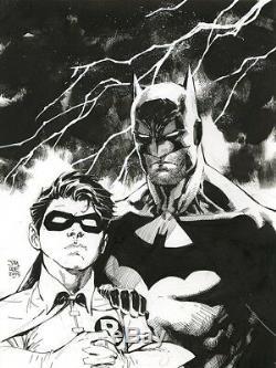 BATMAN & ROBIN Original Art by comic book legend JIM LEE. Framed