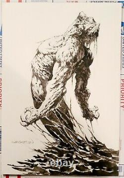 BERNIE WRIGHTSON SWAMP THING pencil & ink original on art board. Signed 11x16