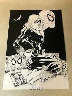 BLACK CAT original art SPIDER-MAN VENOM super detail SPLASH STUNNING