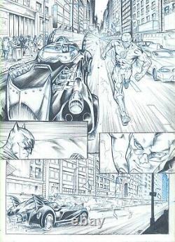 Batman & The Flash Batmobile Original Comic Art Domenech