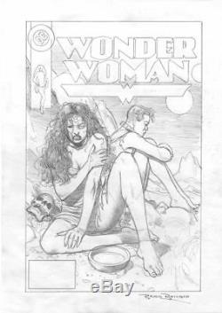 Brian Bolland, original art, Wonder Woman Cover Prelim. Pencils on paper, Signed