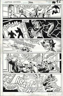 CAPTAIN AMERICA #344 ORIGINAL COMIC ART PAGE DWYER CAP v PRESIDENT RONALD REAGAN