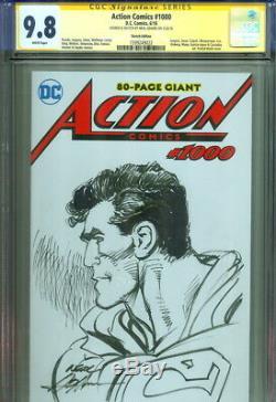 CGC SS 9.8 Neal Adams SIGNED Original Art Sketch Action Comics #1000 SUPERMAN