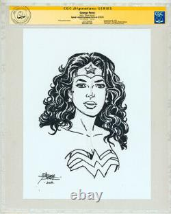 CGC SS Signed George Perez Original Art Sketch DC Comics Wonder Woman / JLA