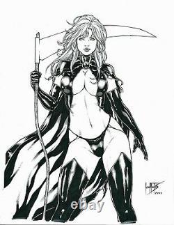 COFFIN Comics LADY DEATH Original Art Pinup HORROR SCYTHE DEMONS PURGATORI ERNIE