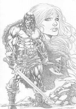 CONAN & RED SONJA 11x17 PENCIL SEXY PINUP ART ORIGINAL COMIC PAGE BY RON ADRIAN