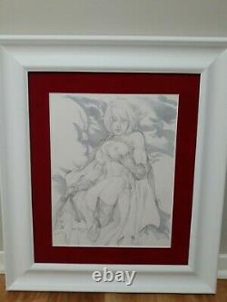 EBAS Original Art of Power Girl Rare Nude 21 X 24 Professionally Framed
