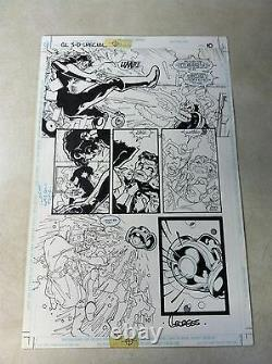 GREEN LANTERN 3D #1 original comic art BATTLES DOCTOR LIGHT, AWESOME ACTION