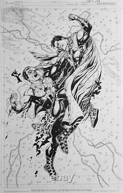 Gary Frank original comic art JLA #21, Shazam page 22. Black Adam DC Comics