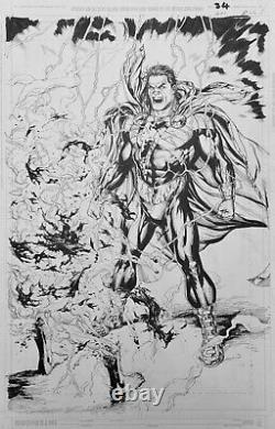 Gary Frank original comic art JLA #21, Shazam page 26. Black Adam DC Comics