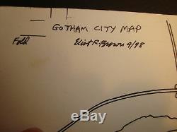 Gotham City Map Original Art Unique! Famous! Batman Joker