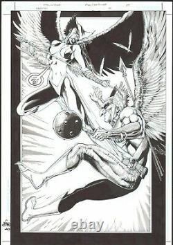 HAWKMAN & HAWKGIRL FULL SPLASH by ETHAN VAN SCIVER Original Comic Art #13 pg 20