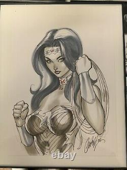 J SCOTT CAMPBELL JSC ORIGINAL ART SKETCH OF WONDER WOMAN DC COMICS 9x12