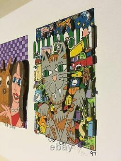 James Rizzi original 3D, BIG DOG BIG CAT, FUNNY FACES, handsigniert, 1997