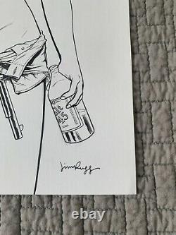 Jim Rugg ORIGINAL Comic Art Cartoonist Kayfabe Street Angel Woman WithRevolver
