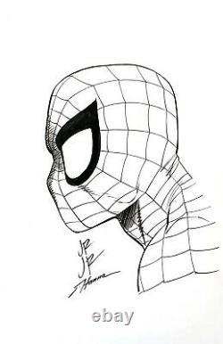 John Romita Jr & Scott Hanna Marvel Comics Spider-Man 11x17 Original Art with COA