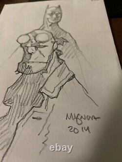 Mike Mignola original art Hellboy Batman 5x7 2014