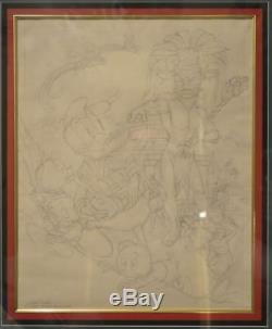 ORIGINAL ART CARL BARKS Finished Drawing DONALD DUCK & The GUILDED MAN Disney