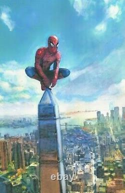 ORIGINAL Spiderman Perched NYC Skyline Cityscape Comic Wall Art Painting 11x17