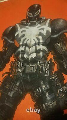 ORIGINAL WATERCOLOR COMIC ART AGENT VENOM RAFAEL RAFA GARRES Spider-man