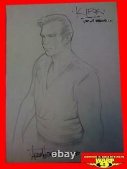 Original Adam Hughes Captain Kirk Comic Art Sketch