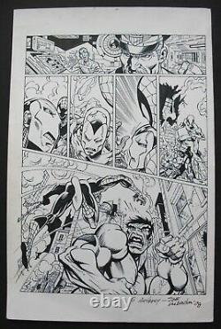 Original Art by JOE RUBINSTEIN featuring IRON MAN, SPIDER-MAN & HULK