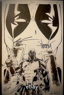Original Comic Art Deadpool Commission Signed By Rob Liefeld & Fabian Nicieza