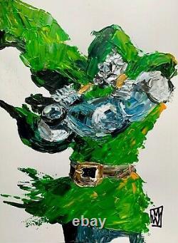Original Dr. Doom Comic Superhero Abstract Realism Acrylic Painting Art Villian