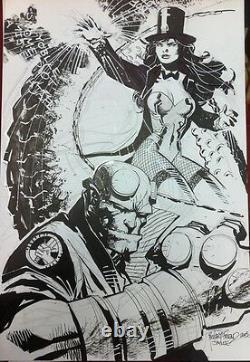 Original Jim Lee Hellboy & Zatanna Comic Art Sketch Inked By Richard Friend