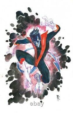 Rod Reis Nightcrawler 11x17 Original Comic Art Sketch Marvel X-Men