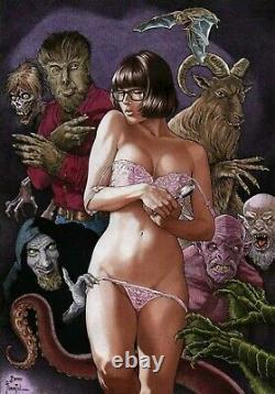 Scooby doo Velma PINUP GIRL Horror Nightmare Original comic Art by Joe Pimentel