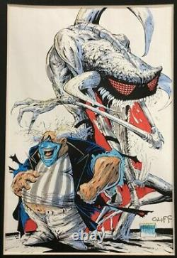 Spawn #14 Cover Original Art Color Guide Steve Oliff, Todd McFarlane, Signed