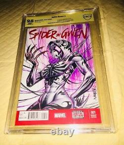 Spider-gwen #1 Blank Cover 9.8 Cbcs Ss Ap Original Art Sketch Jose Varese