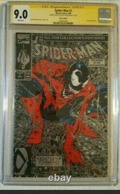 Spider-man 1 Cgc 9.0 Ss Original Art Clayton Crain Remark Venom Sketch 11