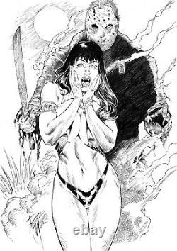 Vampirella & Jason Sexy Pinup Art Original Comic Page By Ronaldo Mendes